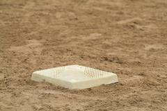 Third base baseball sports sporting bases Stock Photos