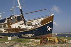 hurricane wilma 1005 damage south end of lake okeechobee boats blown washed a - stock photo