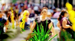 Shoppers on Busy City Streets Stock Footage
