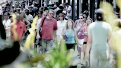 City Sidewalks Crowded With People Stock Footage