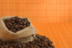 Coffee beans in  bag Stock Photos
