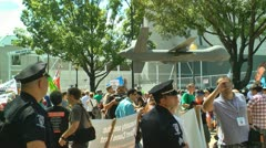 Protest in charlotte democratic national convention 2012 hold a drone Stock Footage