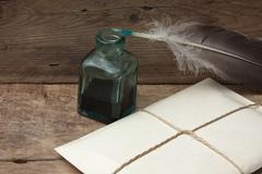 letter and quill pen - stock photo