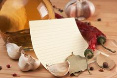 blank sheet for cooking recipes and spices - stock photo