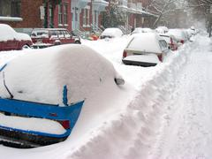 Snow storm in Canada - stock photo