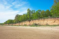 steep bank of the river - stock photo