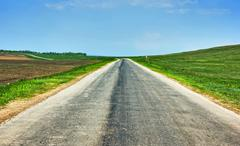 rural country  highway perspective - stock photo