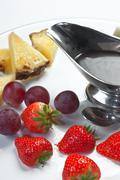 slices of strawberry, pineapple and kiwi - stock photo
