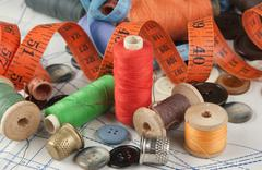 various sewing accessories in the scheme - stock photo