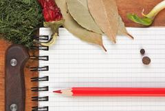 Notebook for cooking recipes and spices Stock Photos