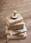 stack parcel  in warehouse - stock photo