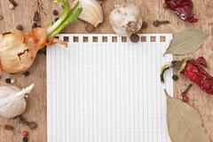 notebook for recipes and spices - stock photo