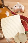 Blank sheet for cooking recipes and spices Stock Photos