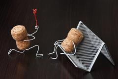 two wine corks, dating - stock photo