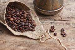 coffee beans in a bag - stock photo