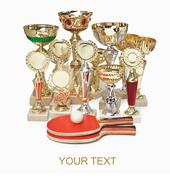 Stock Photo of many sports awards and  tennis racket