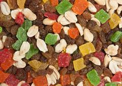 Stock Photo of a mixture of nuts and dried fruit pieces