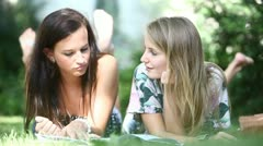 Students talking outdoors - stock footage