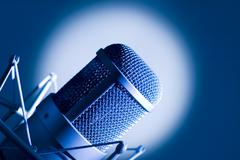 microphone in studio. - stock photo