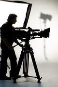 studio light on location for movie scene. - stock photo