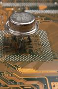old silicon chip - stock photo