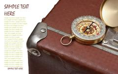 old suitcase  and compass - stock photo