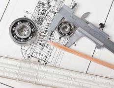 mechanical scheme and  bearing - stock photo