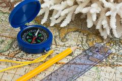 map and coral - stock photo