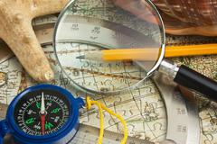 old map and starfish - stock photo
