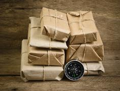 Stack parcel  in warehouse Stock Photos