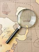 Magnifier  on  map Stock Photos