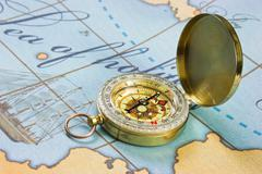 Stock Photo of compass on map