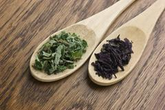 Spices in wooden spoons Stock Photos