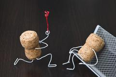 office romance,two wine corks, dating - stock photo