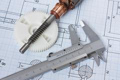 Rotor of electromotor and  drawing Stock Photos