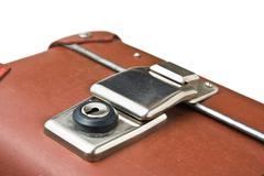 old suitcase isolated - stock photo