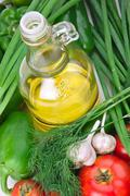 Stock Photo of vegetables and a bottle of oil