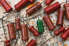 Old electronic components Stock Photos