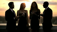 Diverse friends having fun at luxury cocktail outdoor sunset party   Stock Footage