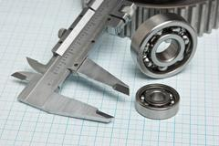 Caliper with gears and bearings Stock Photos