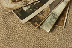 vintage background with photos - stock photo