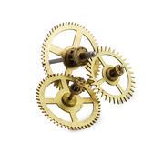 clockwork gears isolated on white - stock photo