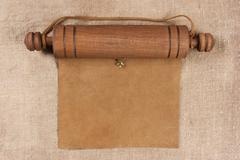Blank parchment manuscript in  wooden case Stock Photos
