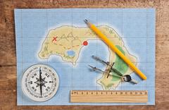 maps of the coral islands - stock photo
