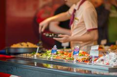 Day dishes in fast food restaurant in mall Stock Photos