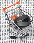 Computer mouse  in  shopping trolley Stock Photos