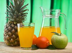 Stock Photo of various fruits and juice