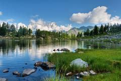 arpy lake, aosta valley - stock photo
