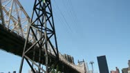 Stock Video Footage of Roosevelt Island Tramway and the Queensboro Bridge