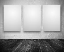blank banners in a old dark room - stock illustration